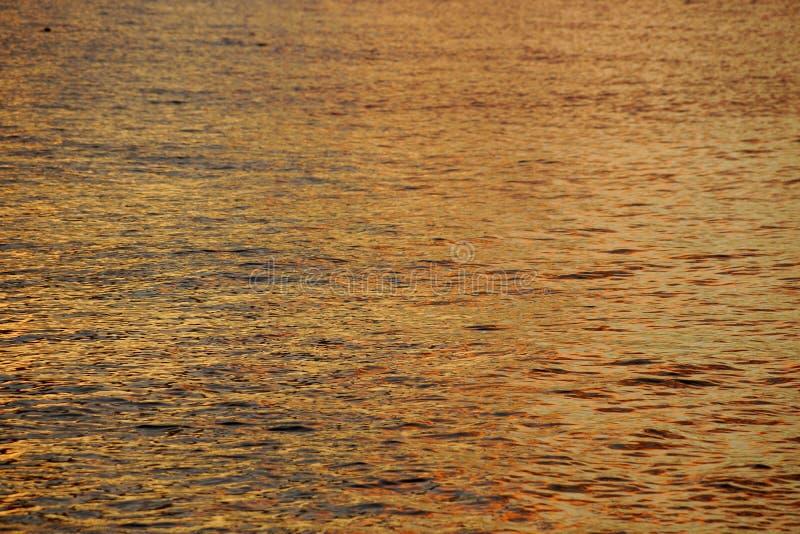 Tonalità delle ondulazioni giallo arancione dell'acqua dell'oceano fuori dalla riva del nord fotografia stock