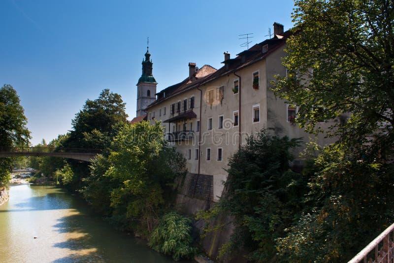 Tonalità di finestra della Slovenia di loka di Skofja fotografia stock libera da diritti