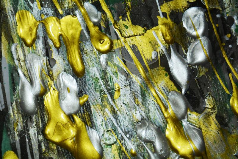 Tonalità vive verdi dorate d'argento variopinte della pittura astratta, struttura astratta immagini stock libere da diritti