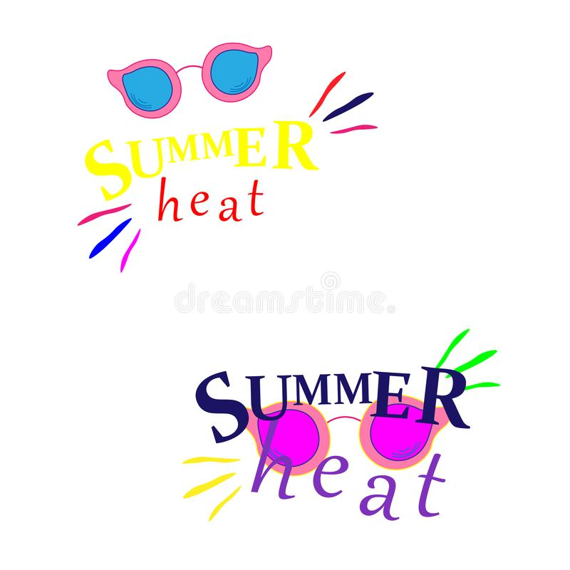 Tonalit? di estate con ciao il concetto variopinto felice di estate nel fondo giallo fresco per la stagione estiva Vettore illustrazione di stock