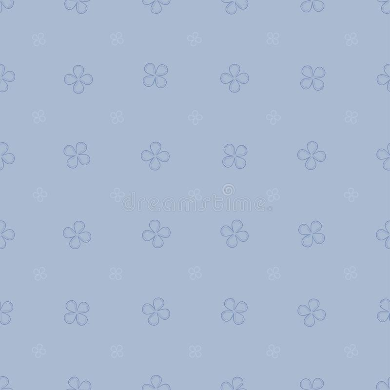 Tonar den sömlösa modellen för våren med med fyra kronbladblommor i pastellblått royaltyfri illustrationer