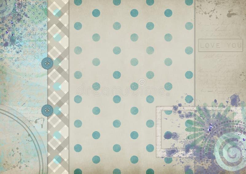 Tonar det scrapbooking kortet för tappning med pastell med en inskrift royaltyfri illustrationer