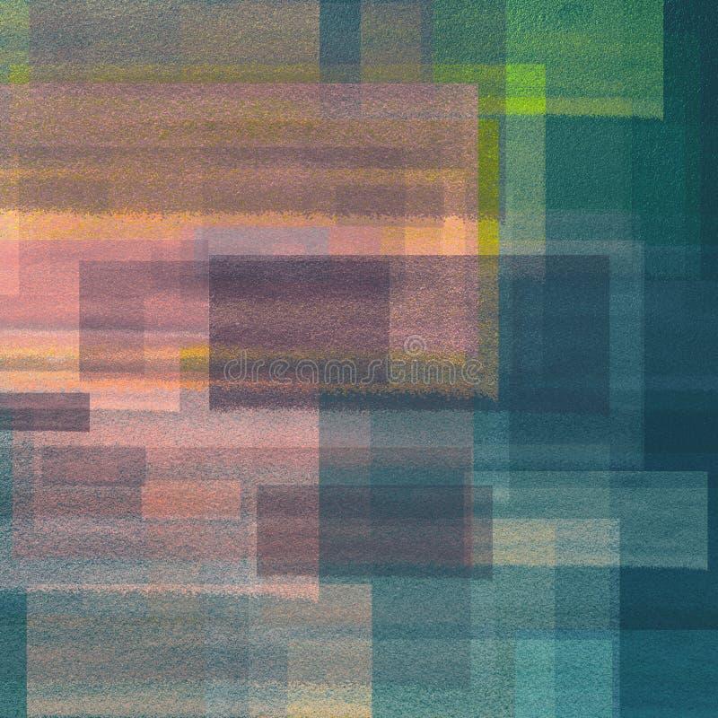 Tonat abstrakt målat konstverk för färgpulverborsteslaglängder Grungy lappar klistrade på pastellfärgad bakgrund för dekorativa s royaltyfri illustrationer