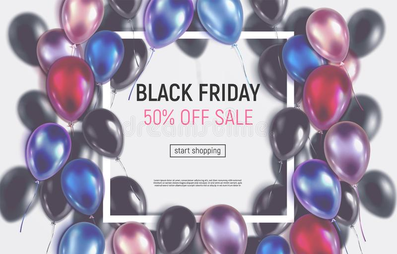 Tonat Black Friday försäljningsbaner med realistiska ballonger stock illustrationer