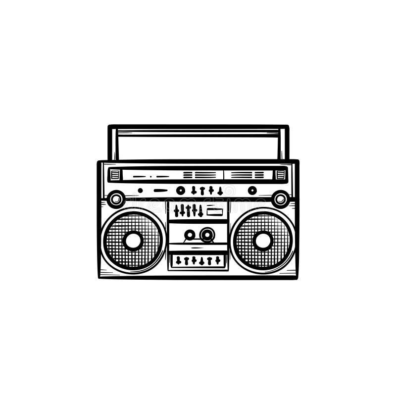 Tonbandgerät mit Radiohand gezeichneter Entwurfsgekritzelikone vektor abbildung