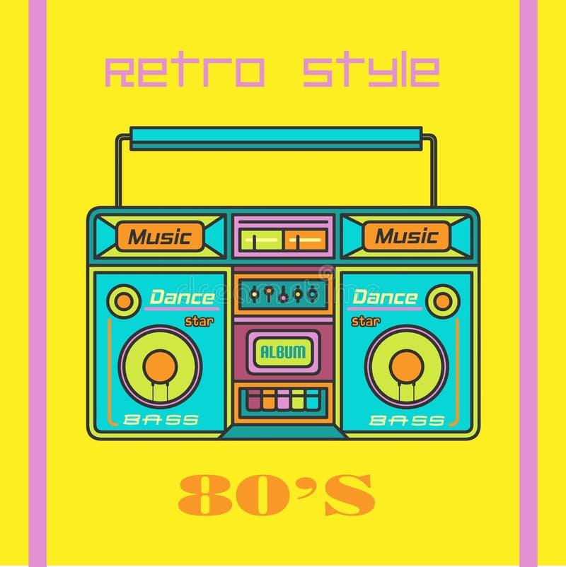 Tonbandgerät 90s Retro- Musikplakatschablone vektor abbildung