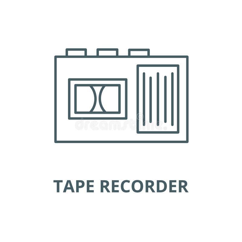 Tonbandgerät-Vektorlinie Ikone, lineares Konzept, Entwurfszeichen, Symbol lizenzfreie abbildung