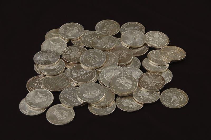 Tondi del lingotto d'argento fotografia stock libera da diritti