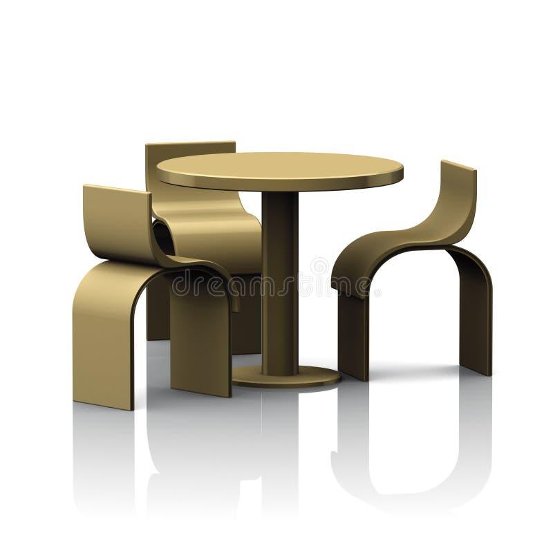 Tondino della Tabella ed oro delle sedie royalty illustrazione gratis