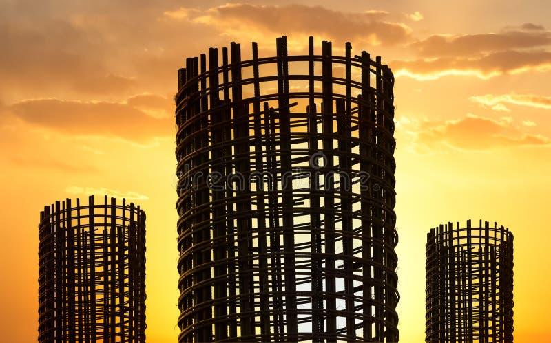 Tondo per cemento armato di riserva a costruzione fotografie stock libere da diritti