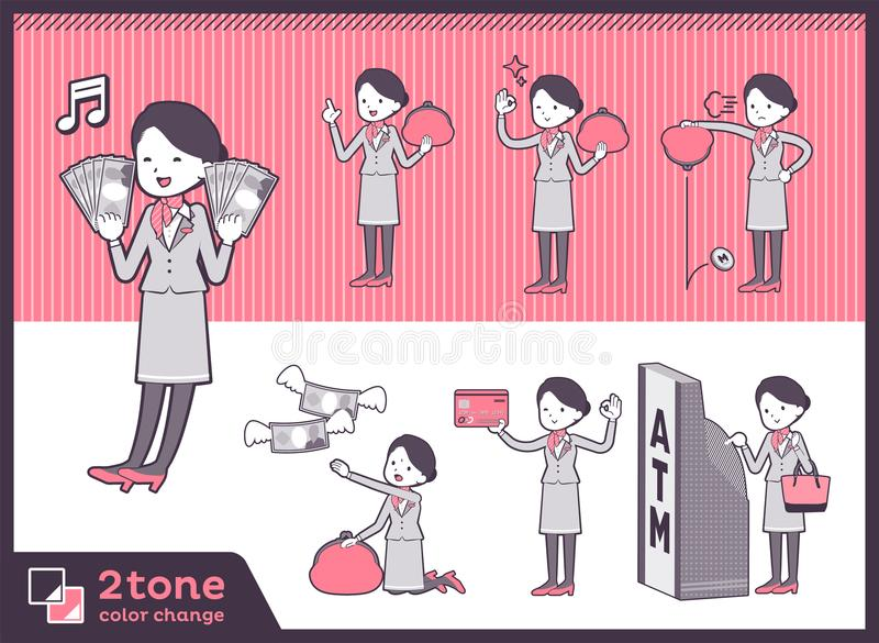 2tone υπάλληλος women_set 11 καμπινών τύπων διανυσματική απεικόνιση