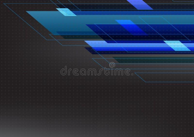 Tone Abstract Technology Black Background azul Ilustração do vetor ilustração stock