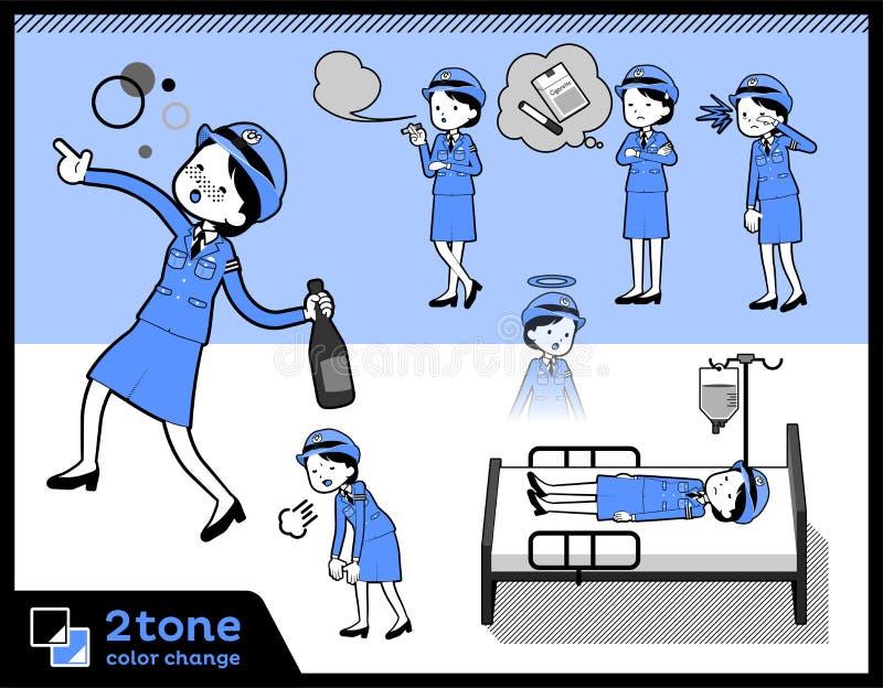 2tone Art Polizei Women_set 10 vektor abbildung