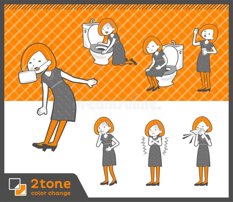 2tone Bob włosy sukni woman_set 09 typ royalty ilustracja