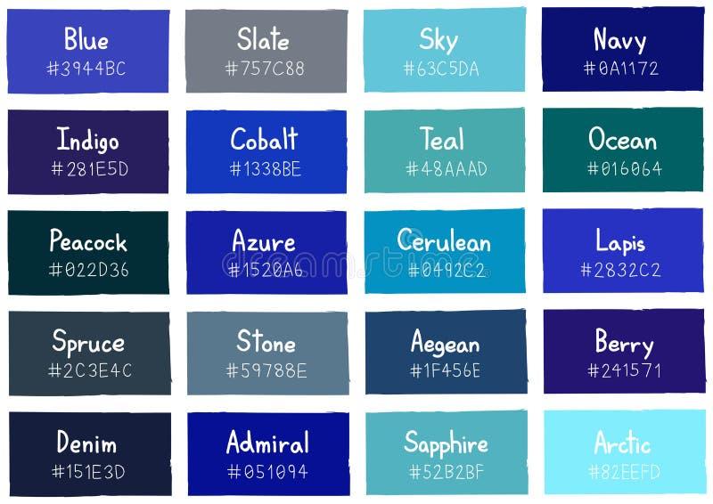 Tone Color Shade Background bleue avec le code et le nom illustration de vecteur
