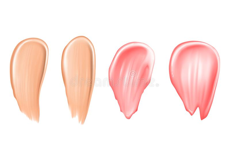 Tone strokes or lipstick smudges vector illustration of 3d realistic isolated concealer or makeup cosmetic for. Tone strokes or lipstick smudges vector vector illustration