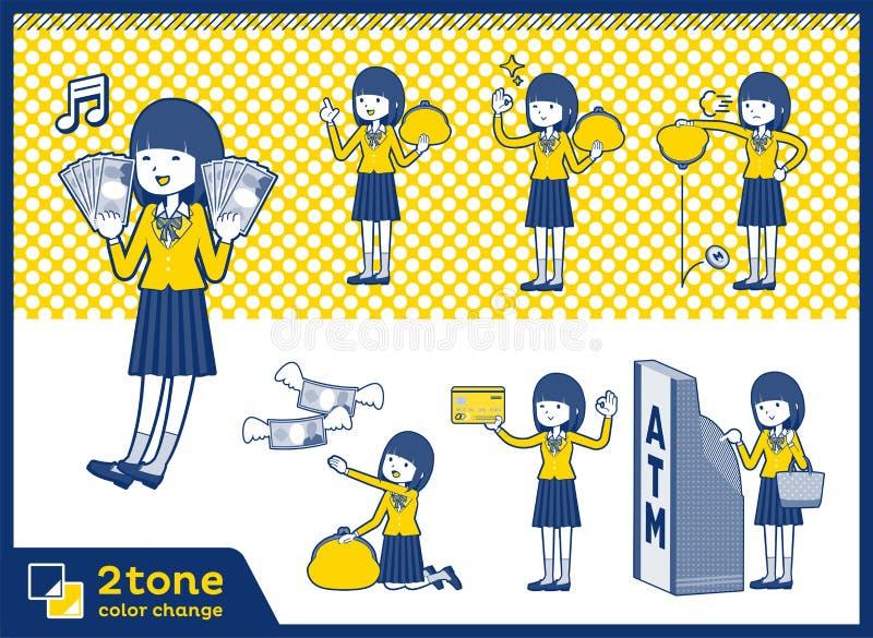 2tone szkoły dziewczyna Blazer_set 11 typ ilustracja wektor