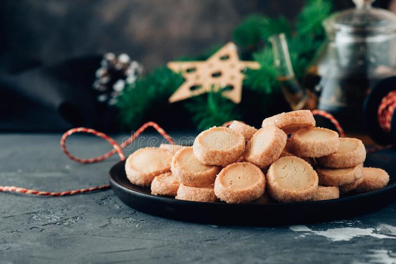 Sweet desserts cookies and biscuits for holidays: christmas, thanksgiving, new year`s eve. stock image