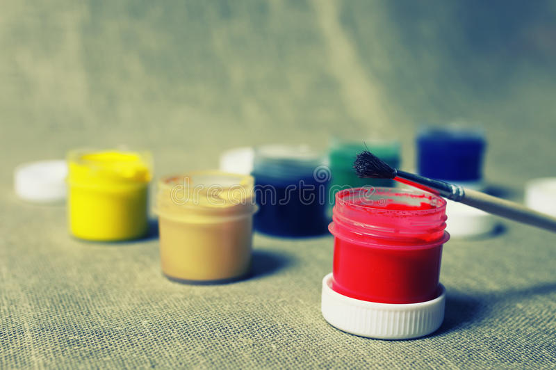 Toned set of paint cans royalty free stock image