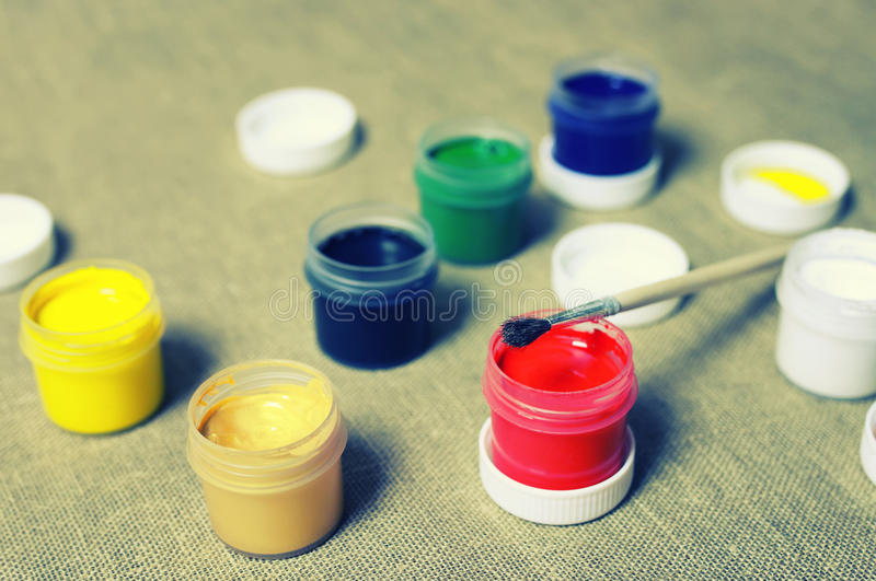Toned set of paint cans royalty free stock photos
