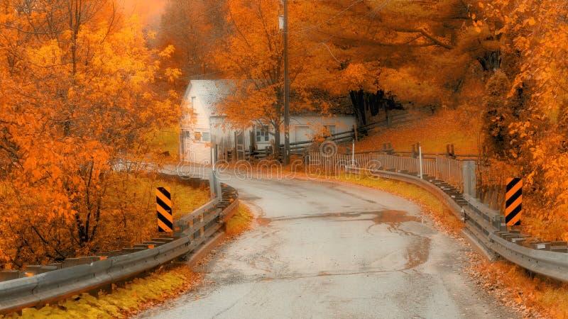 Toneel de herfstaandrijving in landelijk Quebec stock foto