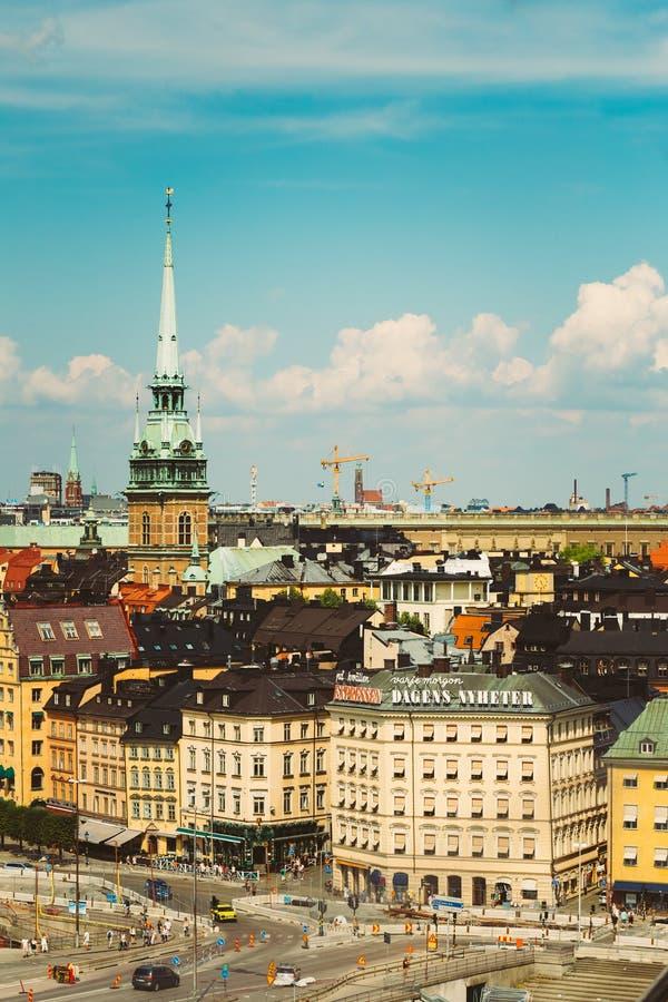 Toneel de zomerlandschap van de Oude Stad in Stockholm royalty-vrije stock fotografie