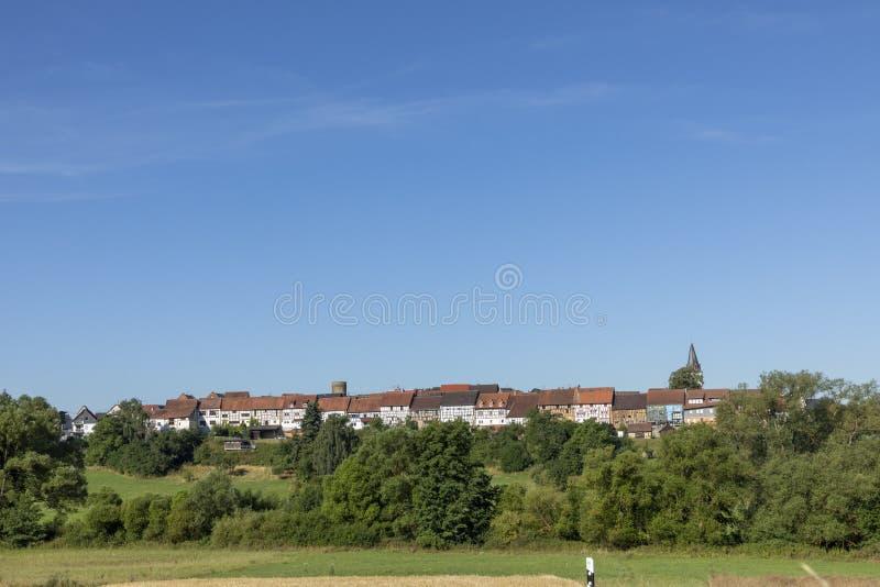 Toneel half betimmerde huisvoorgevel in Walsdorf, Idstein, Duitsland royalty-vrije stock foto