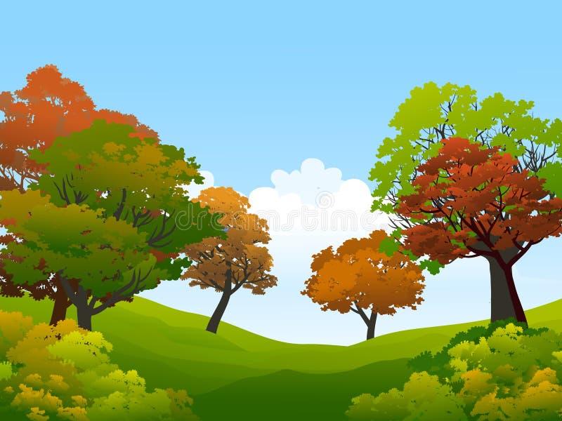 Toneel kleurrijke de herfstbomen onder blauwe hemel royalty-vrije illustratie