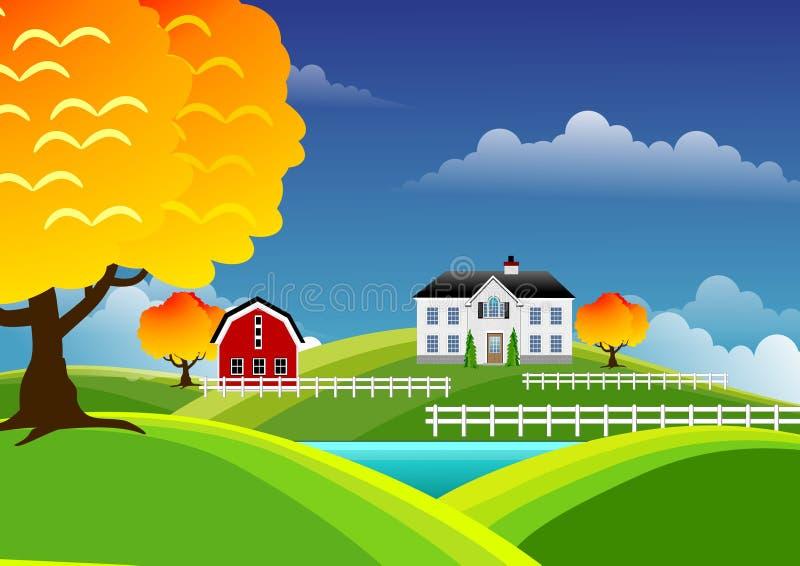 Toneel landbouwbedrijflandschap stock illustratie