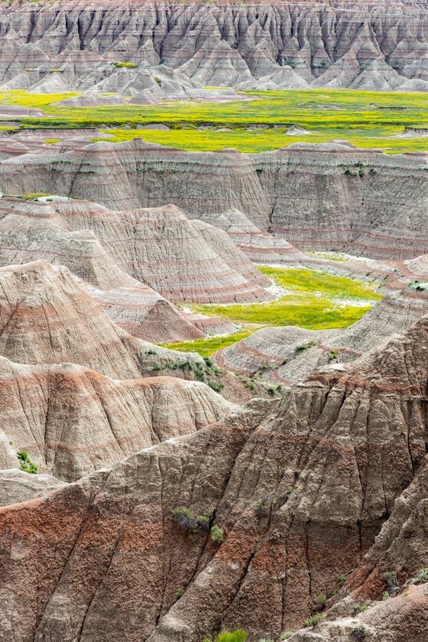 Toneel mening bij Badlands Nationaal Park, Zuid-Dakota, de V royalty-vrije stock foto