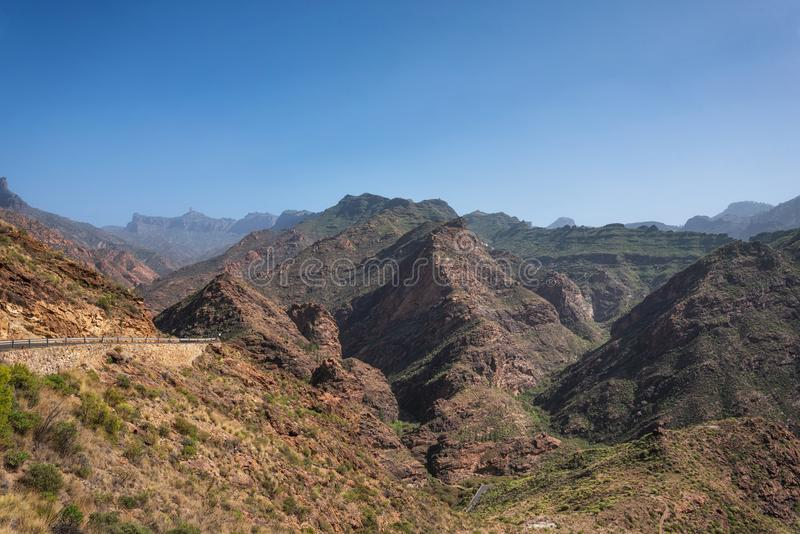 Toneel mountanious landschap in Grote Kanarie, Canarische Eilanden, Spanje stock afbeelding