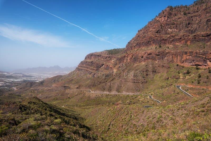 Toneel mountanious landschap in Grote Kanarie, Canarische Eilanden, Spanje royalty-vrije stock afbeeldingen