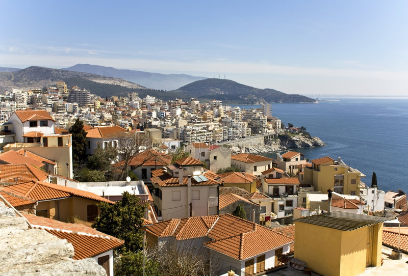 Toneel stad van Kavala in Griekenland royalty-vrije stock afbeeldingen