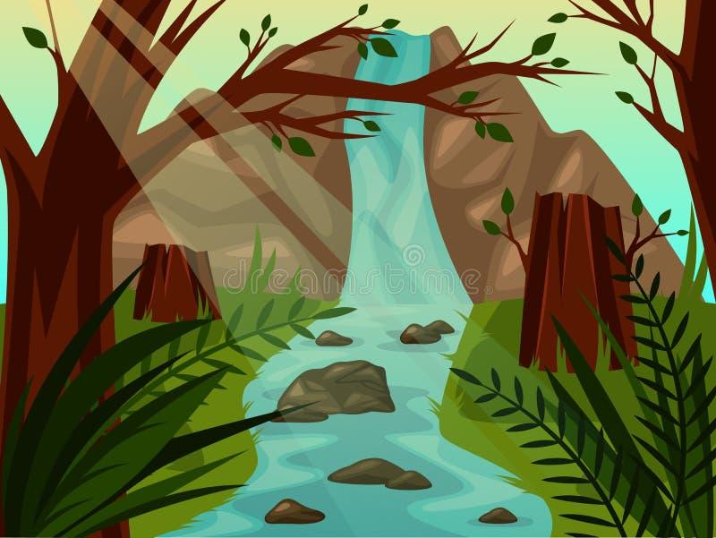 Toneel wild landschap met bomen en waterval stock illustratie
