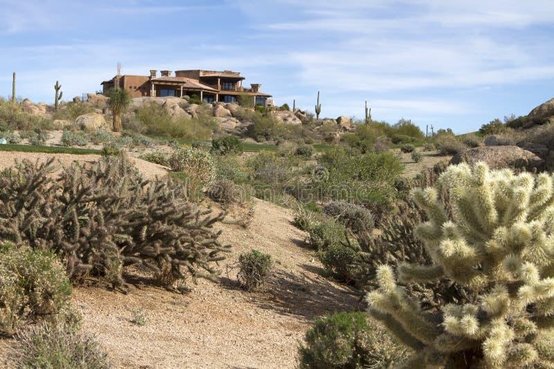 Toneel woestijnlandschap bij het golfcursus van Arizona royalty-vrije stock afbeelding
