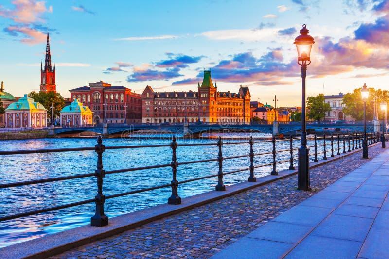 Toneel zonsondergang in Stockholm, Zweden stock afbeeldingen