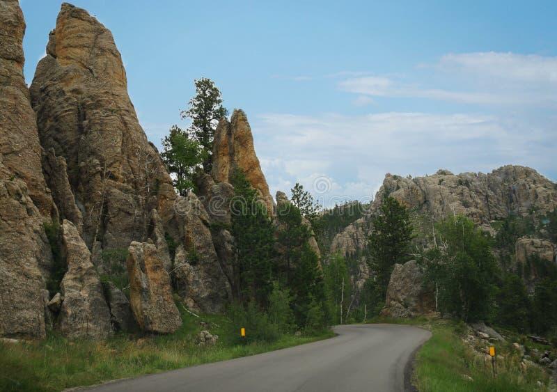 Toneelaandrijving op Naaldenweg, Custer State Park, Zuid-Dakota royalty-vrije stock foto's
