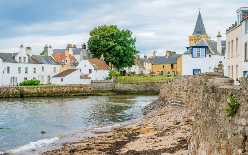 Toneelgezicht in Anstruther in een de zomermiddag, Fife, Schotland stock afbeelding