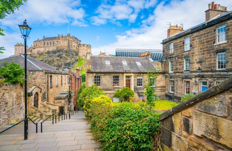 Toneelgezicht in de oude stad van Edinburgh, Schotland stock foto's