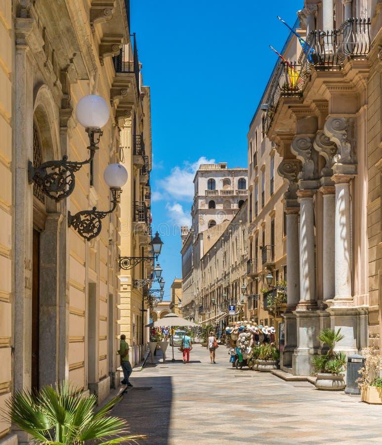 Toneelgezicht in de oude stad van Trapan Sicilië, Italië stock afbeelding