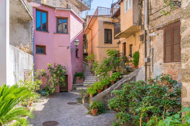 Toneelgezicht in het dorp van Carbognano, Provincie van Viterbo, Lazio, Italië royalty-vrije stock afbeelding