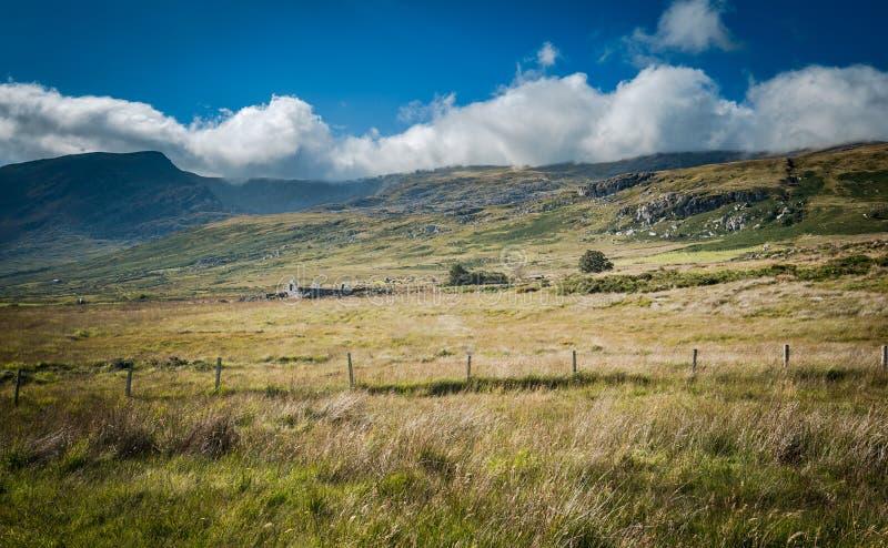 Toneelgrasland met Wolk Afgedekte Bergketen royalty-vrije stock foto's