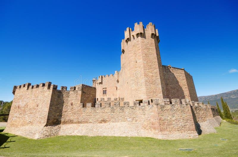 Toneelmening van beroemd Javier Castle in Navarra, Spanje royalty-vrije stock foto