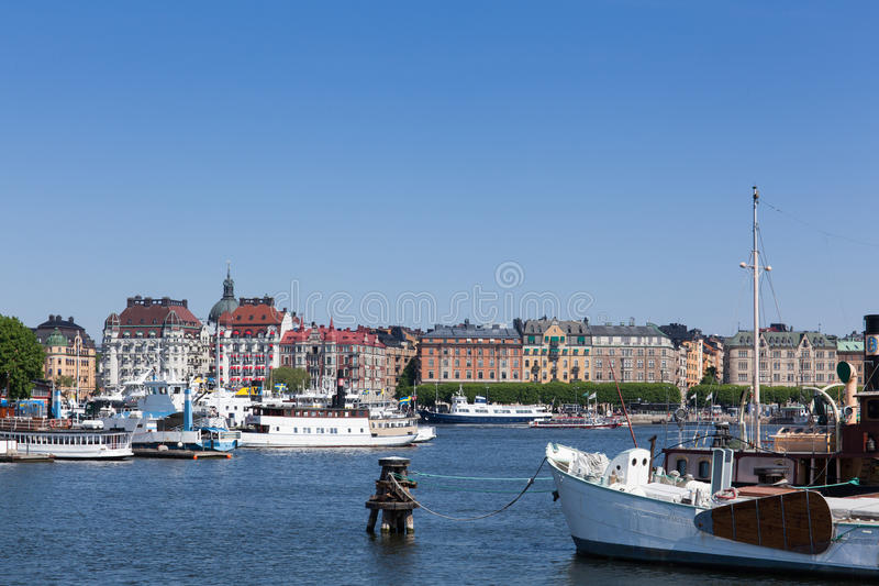 Toneelmening van de Stad van Stockholm royalty-vrije stock foto's