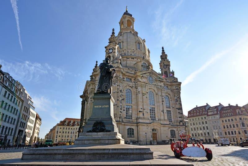 Toneelmening van Frauenkirche in het centrum van oude stad in Dre stock foto's