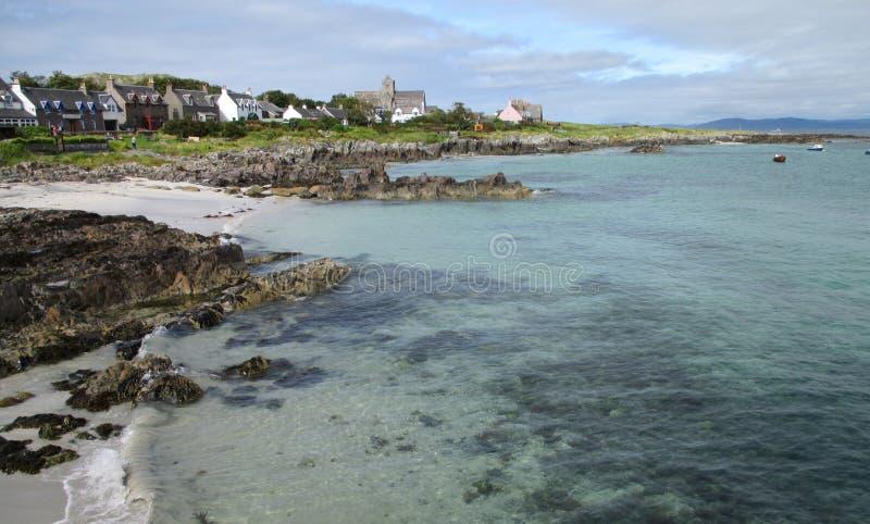 Toneelmening van het eiland Iona stock foto