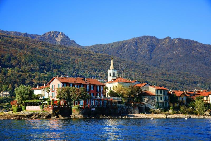 Toneelmening van Isola Bella op Meer Maggiore, Italië, Europa royalty-vrije stock afbeelding