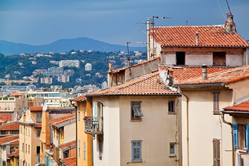 Toneelmening van Nice, Frankrijk Gele daken royalty-vrije stock foto
