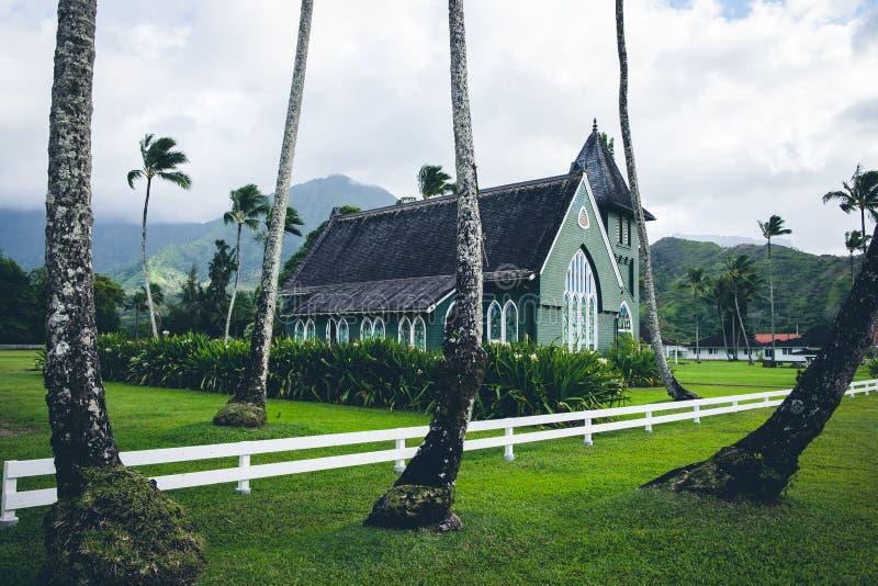 Toneelmening van van olihui ` van Wai ` de opdrachtkerk ia, Kauai stock afbeelding