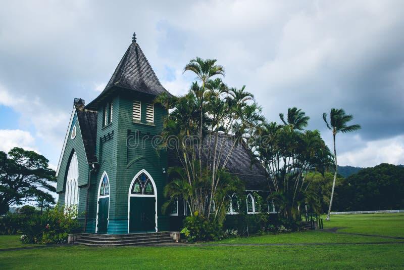 Toneelmening van van olihui ` van Wai ` de opdrachtkerk ia, Kauai royalty-vrije stock foto
